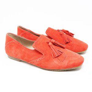 Boden Orange Suede Tassel Loafers